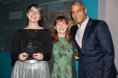 Bath Chronicle Sport Awards, Tuesday 20 November 2018   Award No 5 : Community Club of the Year  presented by Jeremy Guscott, Former Rugby Union  to winners    Bath Roller Derby   PHOTO:PAUL GILLIS / paulgillisphoto.com